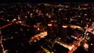 4K Time-lapse: Aerial view 360 degree of Bangkok Cityscape on point of view at Twilight to Night, Bangkok Thailand