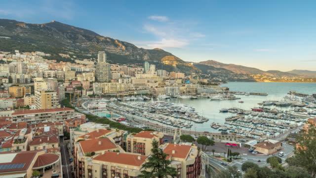 Time-lapse: Aerial View Monaco Monte Carlo harbour french riviera