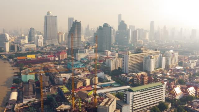 4 K - Time-lapse: luchtfoto van Bangkok stad in de ochtend, Thailand