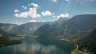 4K Time-lapse: aerial view of Hallstatt village and lake, Austria