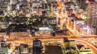 Time-lapse: Aerial view of Nagoya Cityscape highway at night Japan