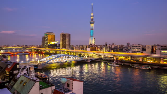 4K Time-lapse: aerial view Tokyo Skytree Japan at dusk
