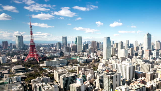 HD Time-lapse: Aerial view Tokyo tower Japan