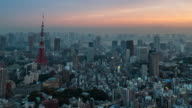 4 K Time-lapse: Flygfoto Tokyo tower Japan