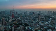 4K Time-lapse : Aerial view Tokyo tower Japan