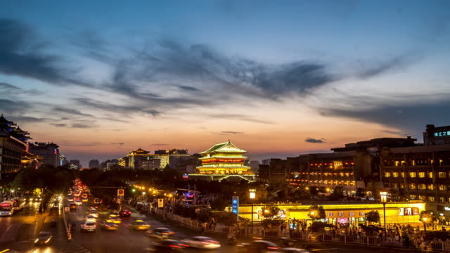 Time-lapse: ancient Xian drum tower Guluo China sunset