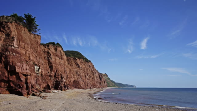 Timelapse and track across the sea and beach to the red cliffs at Sidmouth Devon