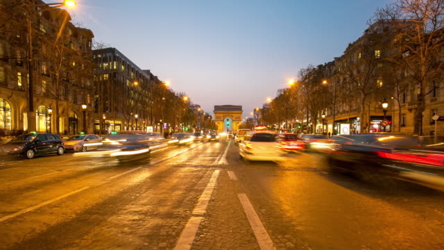 4K Timelapse: Arc of Triomphe Champs Elysees Paris city, France