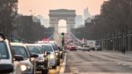 Timelapse: Arc of Triomphe Champs Elysees Paris city, France