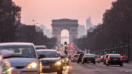 Timelapse: Arc of Triomphe Champs Elysees Paris city, France