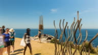 Timelapse at Bondi Beach, Sydney, with people and sculptures in 4K