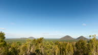 Timelapse at Glass House Mountains, Australia, with a few clouds moving fast and amazing views in 4K