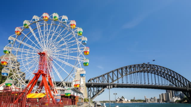 Timelapse at Luna Park with the wheel and the Sydney Harbour Bridge in 4K