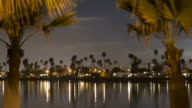 Time-lapse at night of Mission Bay through palm trees.