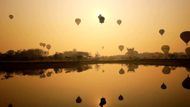 Timelapse, Balloons festival in the sunrise