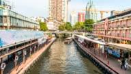 Time-lapse: Bangkok bridge view Canal transportation Boat, Thailand