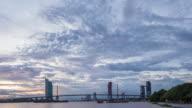 4K Time-lapse Bangkok city waterfront day to night beautiful sky sunset