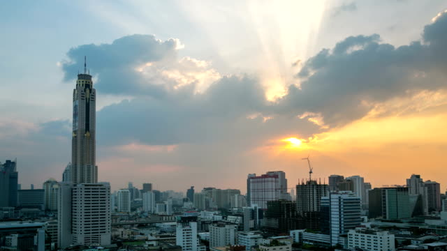 HD Time-lapse: Bangkok Downtown Skyline and highway sunset