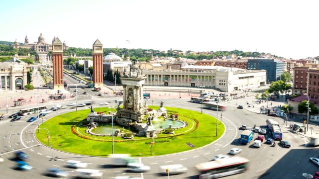 HD Time-lapse: Becelona Espana plaza Town square Spain