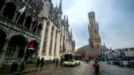 HD-Zeitraffer: Bell Tower Belfort im Market square Brügge, Belgien