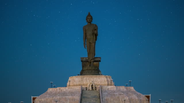 4K Timelapse Black Buddha statue and star in Khonkaen Thailand