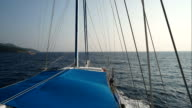 Timelapse boat point of view of blue cruising in Mediterranean sea