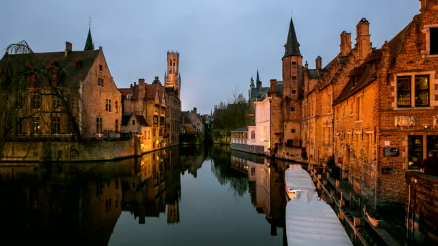 HD time-lapse: Bruges Historic old town and Canal Belgium sunset