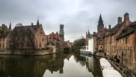 4K time-lapse: Bruges Historic old town and Canal Belgium sunset
