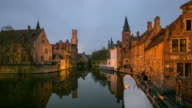 Time-lapse: Bruges Historic old town and Canal Belgium sunset