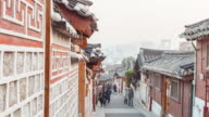 4K Time-lapse Bukchon Hanok village,Seoul, South Korea,Day to night