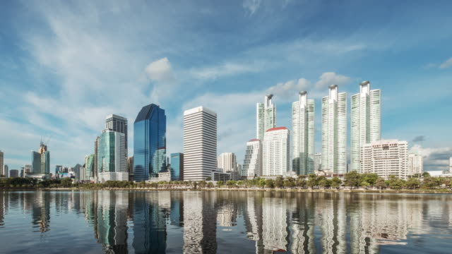 4K time-lapse Business tower zone urban area,Asia Bangkok Thailand