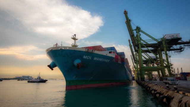 4K time-lapse: Cargo ship depart from Singapore Shipyard Port Terminal