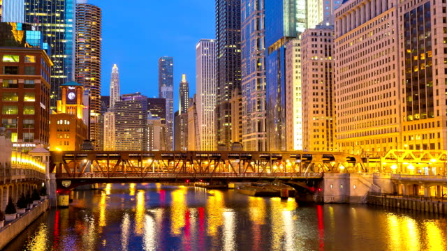 HD Time-lapse: Chicago River with Skyline Cityscape USA at dusk