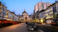 HD time-lapse: City Pedestrian Antwerp Central Station sunset Belgium