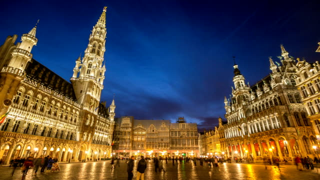 HD Time-lapse: City Pedestrian at Grand Place Brussels Belgium Dusk