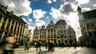 HD Time-lapse: City Pedestrian at Grand Place Brussels Belgium