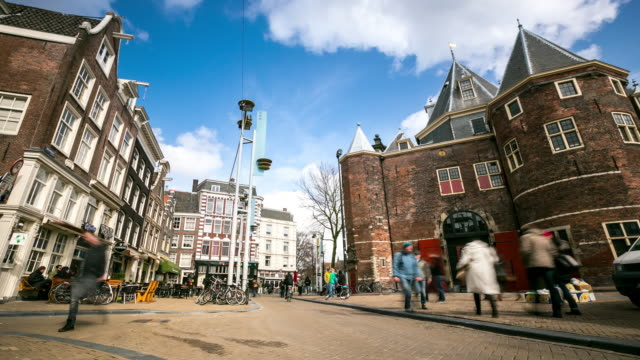 Time-lapse: City Pedestrian at New Market Amsterdam Netherlands