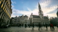 Time-lapse: City Town hall Grand Place Brussels Belgium sunset