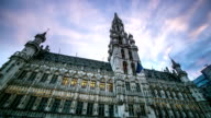 HD Time-lapse: City Town hall Grand Place Brussels Belgium