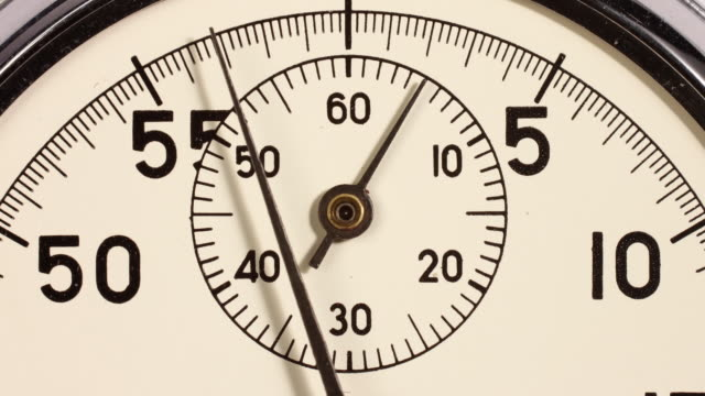 Timelapse. Close up of a stopwatch going backwards and slowing down to zero.
