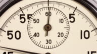 Timelapse. Close up of a stopwatch starting from zero and accelerating.