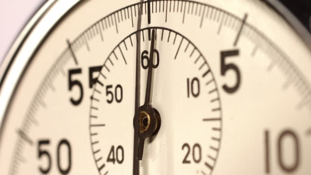 Timelapse. Close up of a stopwatch starting from zero. Limited depth of field selective focus