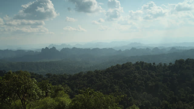 Timelapse clouds billow over rainforested hills, Megatha, Myanmar