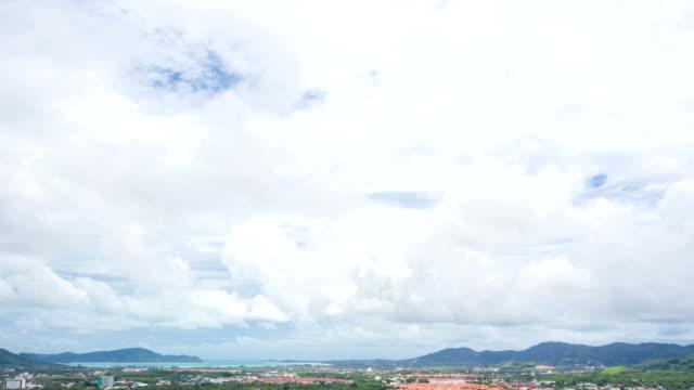 HD Timelapse: Cloudscape against Phuket Cityscape Thailand