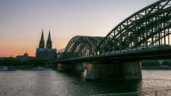 4K Time-lapse: Cologne Cathedral and Hohenzollern Bridge at dusk Germany