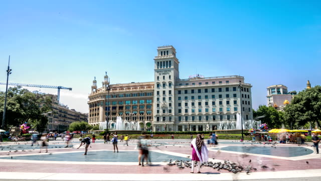 HD time-lapse: Crowd at Catalunya Plaza Square, Barcelona Spain