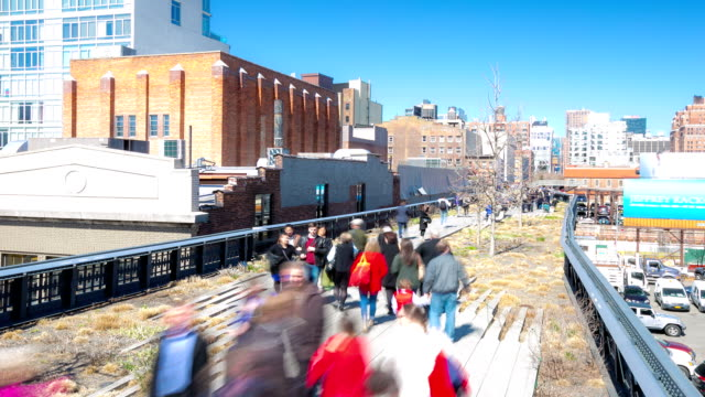 time-lapse in HD: Persone a New York City High Line giardino