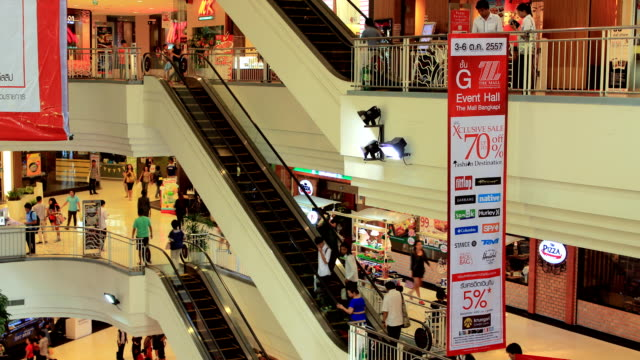 Timelapse crowd at shopping mall