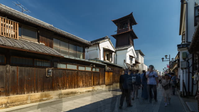 4K Time-lapse : Crowd of tourist walking at Kawagoe Little Edo old town street near by bell tower