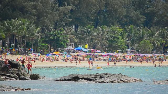 Timelapse Menschenmenge am Strand